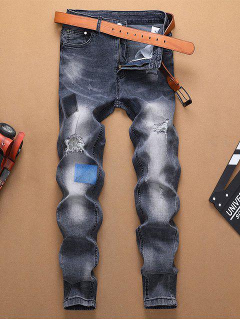 DISTRESSED rasgado decorado con cremallera y pantalones vaqueros - Azul Oscuro de Denim 32 Mobile