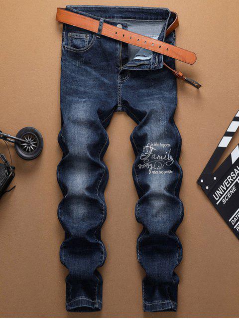 Letra impresa con cremallera Casual Jeans - Azul Oscuro de Denim 32 Mobile