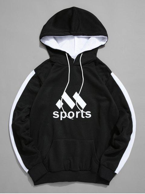 Deporte Gráfico bolsillo canguro Fleece con capucha - Negro L Mobile