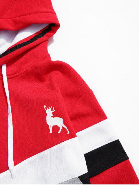 El color de bloqueo de Chevron bolsillo delantero Fleece con capucha - Rojo XS Mobile