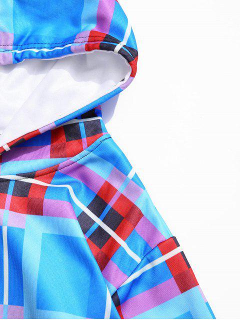 Colorblock a cuadros con capucha con cordón empalmado informal - Multicolor-A 4XL Mobile