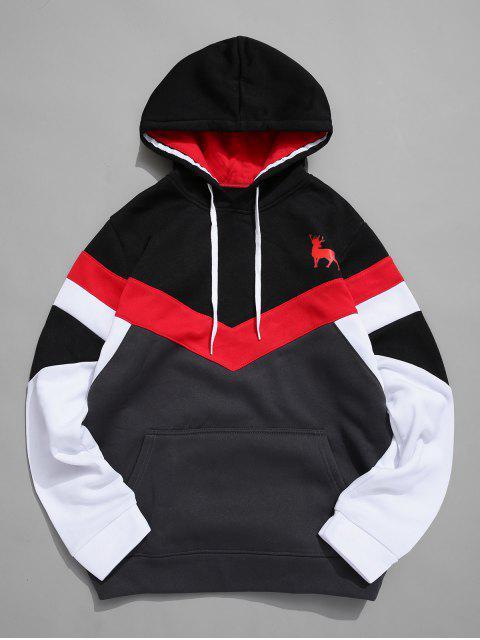 El color de bloqueo de Chevron bolsillo delantero Fleece con capucha - Negro XS Mobile