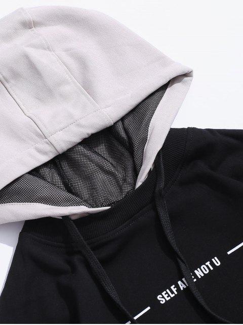 Grafik Druck Farbblock Freizeit Hoodie - Kristall-Creme S Mobile