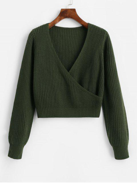 lady ZAFUL Surplice Plunging Short Sweater - CAMOUFLAGE GREEN L Mobile
