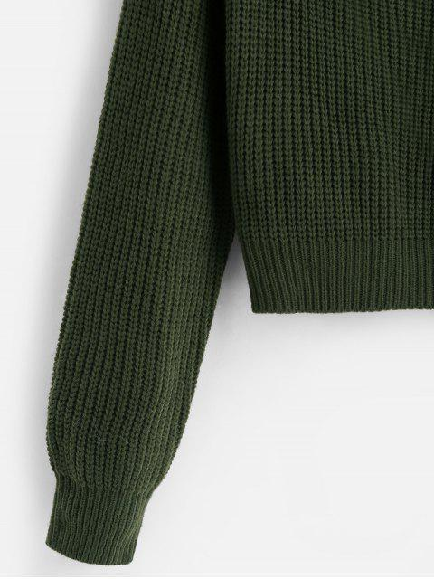unique ZAFUL Surplice Plunging Short Sweater - CAMOUFLAGE GREEN S Mobile