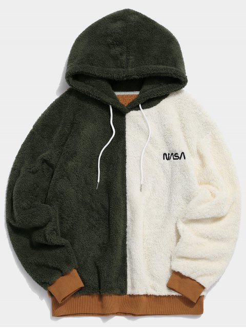 ladies ZAFUL Color-blocking Drop Shoulder Faux Fur Hoodie - MULTI M Mobile