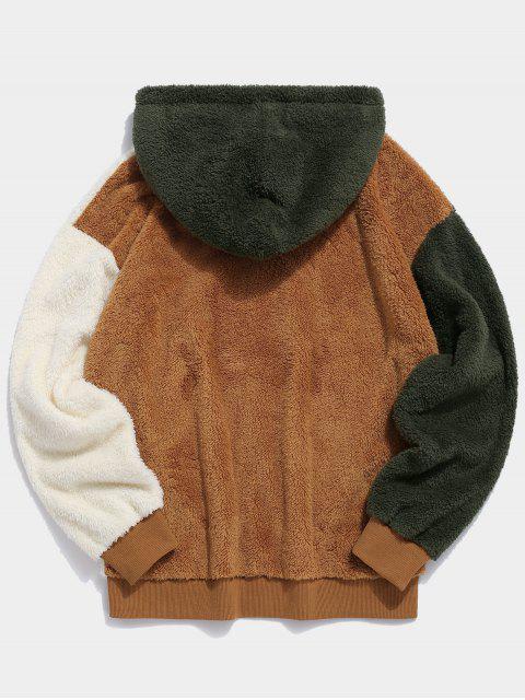 ZAFUL Farbblock Hängender Schulter Hoodie aus Kunstpelz - Multi M Mobile