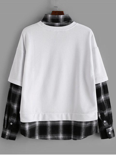 Karierte Spleißen Künstliche Twinset Sweatshirt - Weiß L Mobile