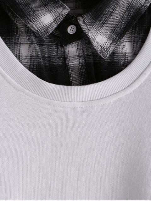 A cuadros con capucha de empalme Faux Twinset - Blanco 2XL Mobile