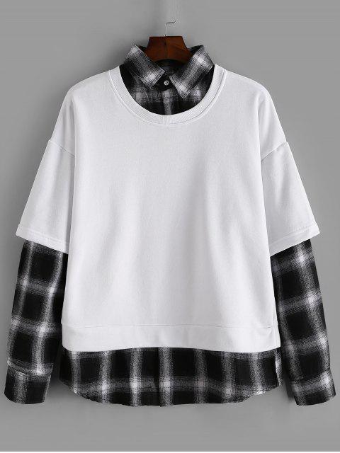 格紋拼接仿兩件套運動衫 - 白色 2XL Mobile