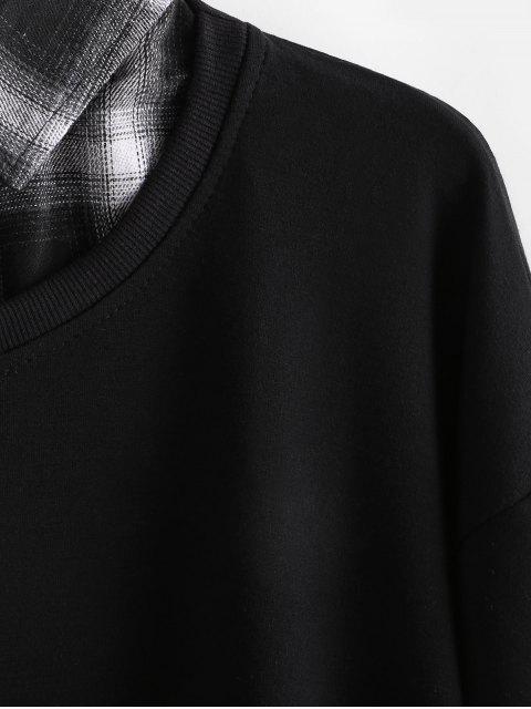 A cuadros con capucha de empalme Faux Twinset - Negro L Mobile