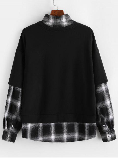 格紋拼接仿兩件套運動衫 - 黑色 XL Mobile