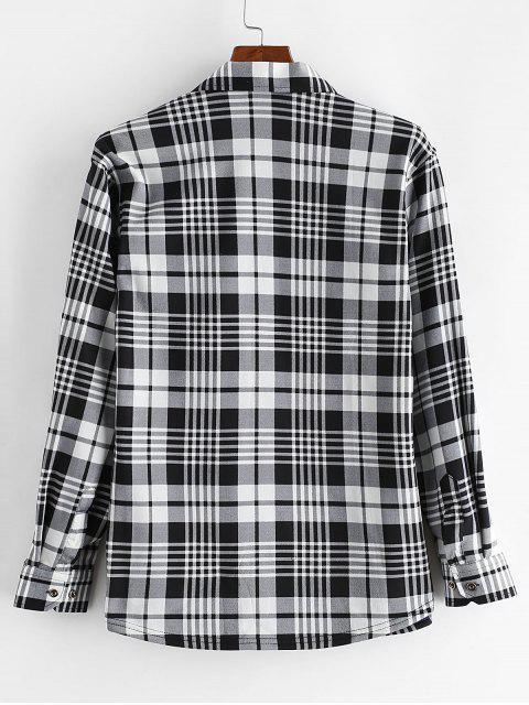 格紋打印胸袋扣羊毛襯衫 - 多 L Mobile
