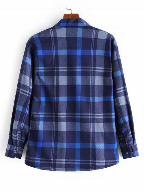 胸前口袋格紋羊毛打印按鈕長袖襯衫 - 多 M Mobile