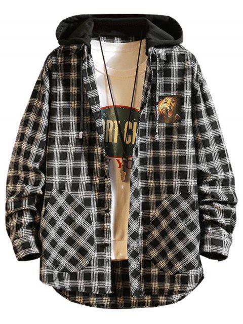 格紋豹紋高低顏色塊連帽T卹 - 黑色 XL Mobile