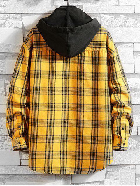 格紋豹紋高低顏色塊連帽T卹 - 黃色 XL Mobile