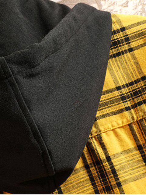 Kariertes Leopard Druck Hohes Niedriges Farbblock Langarm Shirt - Gelb 2XL Mobile
