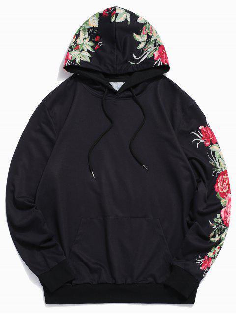 花葉印花休閒口袋連帽衫 - 黑色 2XL Mobile