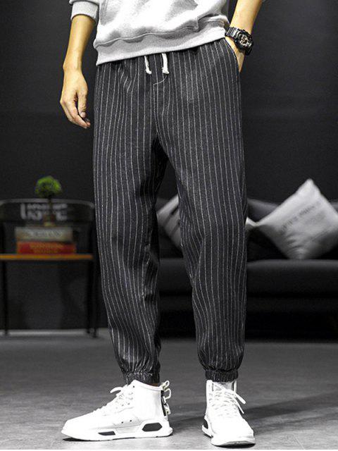 buy Striped Pattern Pocket Decorated Jogger Pants - BLACK L Mobile
