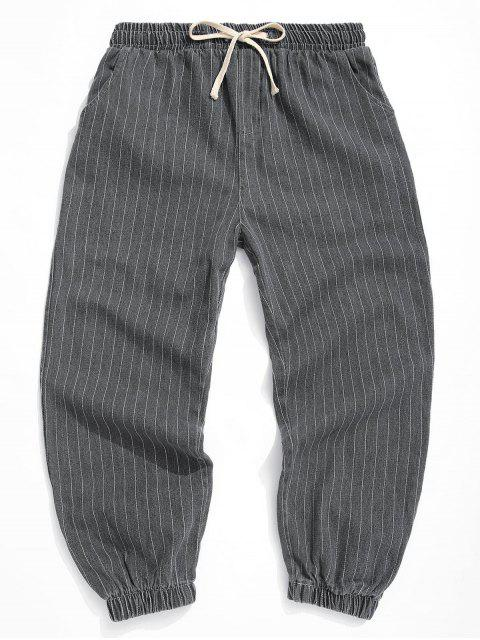 women Striped Pattern Pocket Decorated Jogger Pants - DARK GRAY XS Mobile