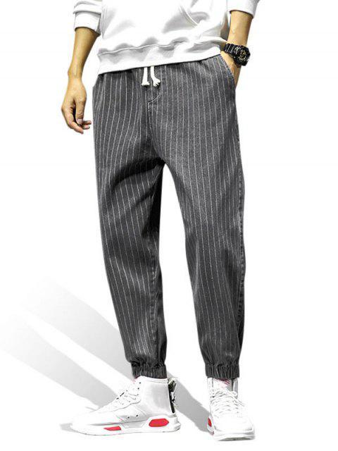 Gestreiftes Muster Tasche Verzierte Jogger Hosen - Dunkelgrau M Mobile