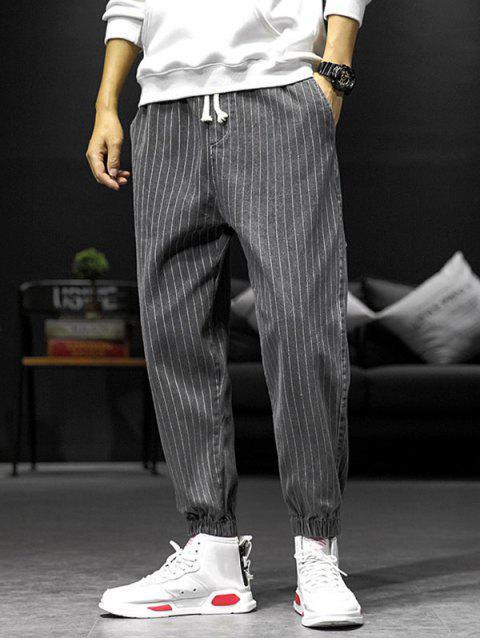 條紋圖案裝飾口袋短褲慢跑者 - 深灰色 XL Mobile