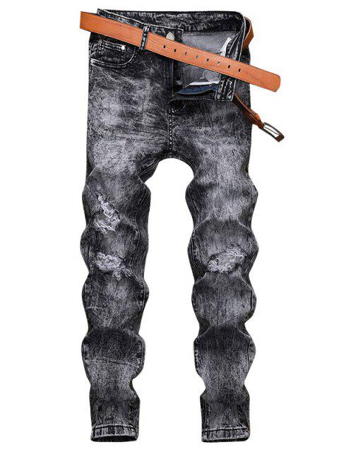 Zerstörte Verzierte Lässige Jeans - Kohle Grau 38 Mobile