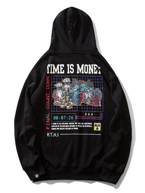時間就是金錢字母圖形打印抽繩連帽外套 - 黑色 2XL Mobile