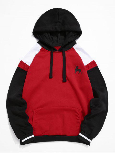 顏色阻斷插肩袖抽繩羊毛夾克 - 紅 2XL Mobile