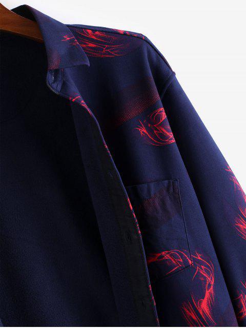 休閒胸袋火焰打印搖粒絨衫鈕 - 多 L Mobile