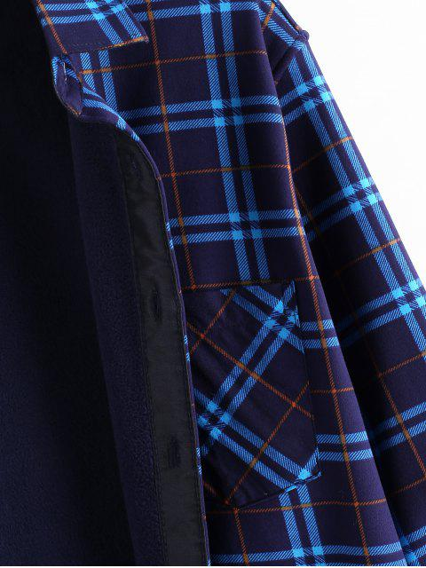 格紋打印口袋抓絨長袖襯衫 - 多 S Mobile