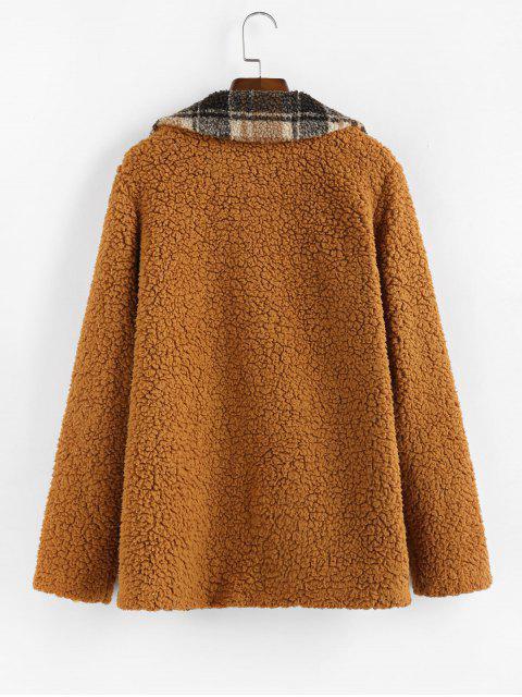 ZAFUL格紋仿羊皮口袋蓬鬆外套泰迪 - 紅色的污垢 XL Mobile