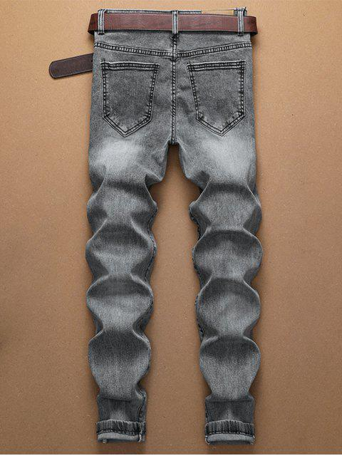 latest Casual Letter Pattern Zip Fly Jeans - GRAY GOOSE 34 Mobile