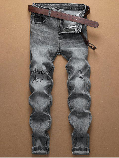 Lässige Buchstabemuster Reißverschluss Jeans - Graue Gans 36 Mobile