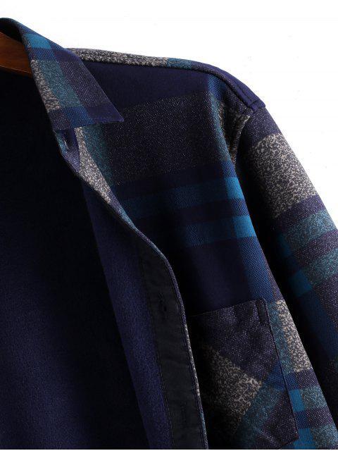 按鈕向上格子羊毛打印長袖襯衫 - 多 L Mobile