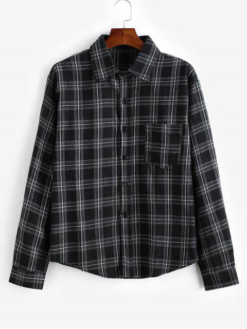 Kariertes Muster- Knopf -Langarm -Shirt - Schwarz 2XL Mobile