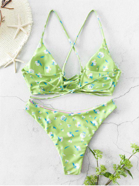 ZAFUL Ditsy打印綁帶比基尼可逆泳裝 - 黑暗的海綠色 L Mobile