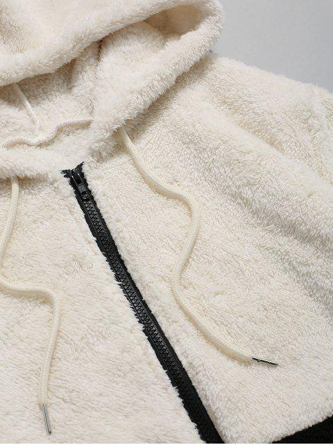 buy Colorblock Splicing Faux Fur Fluffy Hooded Jacket - WARM WHITE M Mobile
