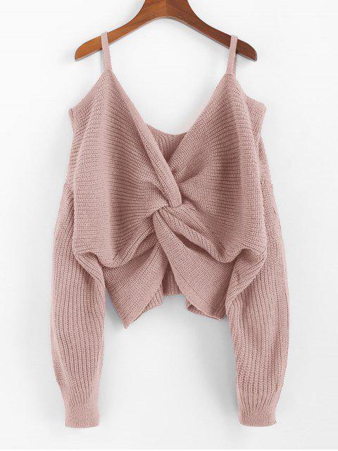 fashion ZAFUL Twisted Cold Shoulder Jumper Sweater - ROSE L Mobile