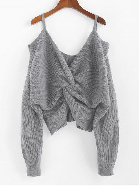 chic ZAFUL Twisted Cold Shoulder Jumper Sweater - GRAY GOOSE S Mobile