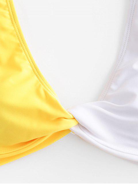 ZAFUL Conjunto de Bikini de Corte Alto de Bloqueo de Color - Amarillo L Mobile