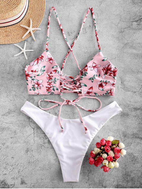 ZAFUL Maillot de Bain Bikini Fleur à Jambe Haute à Lacets - Blanc S Mobile