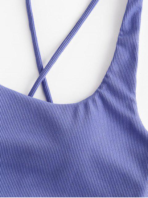 ZAFUL Bikini Top Acanalado de Criss - Azul XL Mobile