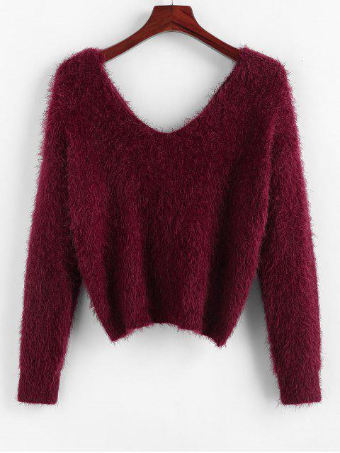 affordable ZAFUL Twisted Plunging Fuzzy Sweater - RED WINE M Mobile