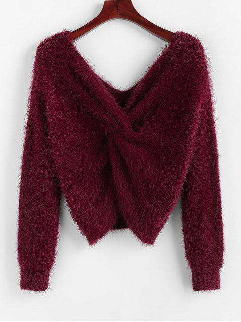 hot ZAFUL Twisted Plunging Fuzzy Sweater - RED WINE L Mobile