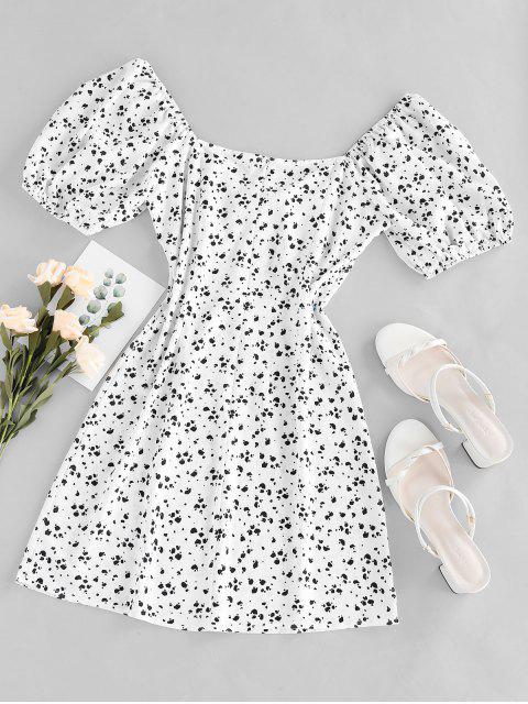 sale ZAFUL Cow Print Bowknot V Neck Mini Dress - MILK WHITE S Mobile