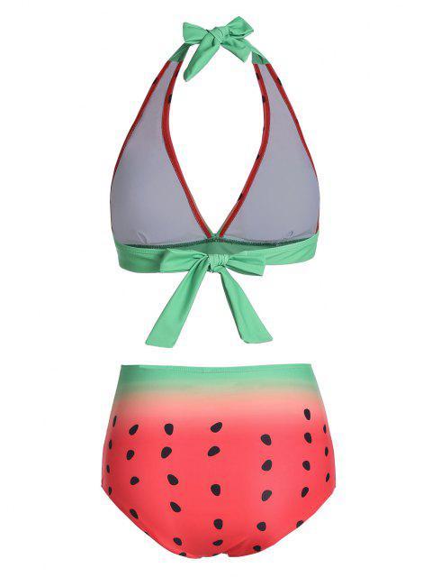 trendy Watermelon Print Knotted Halter Bikini Swimwear - MULTI-A XL Mobile