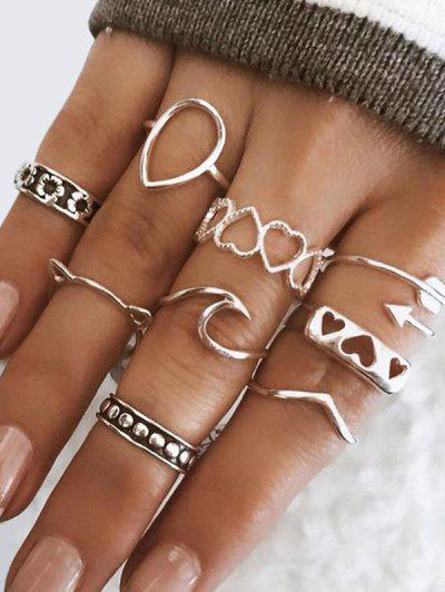 9Pcs Hollow Heart Floral Cat Ring Set - Silver