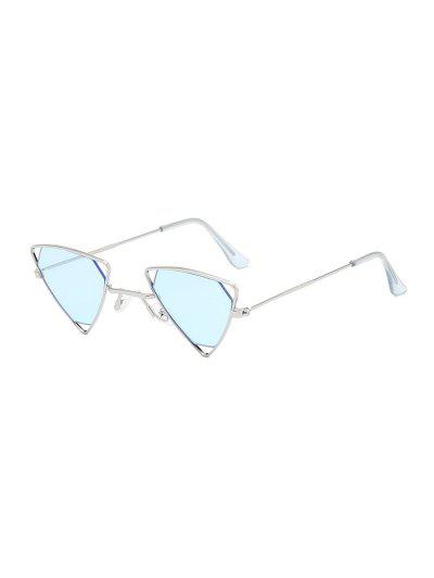 Metal Hollow Triangle Lightweight Sunglasses - Denim Blue