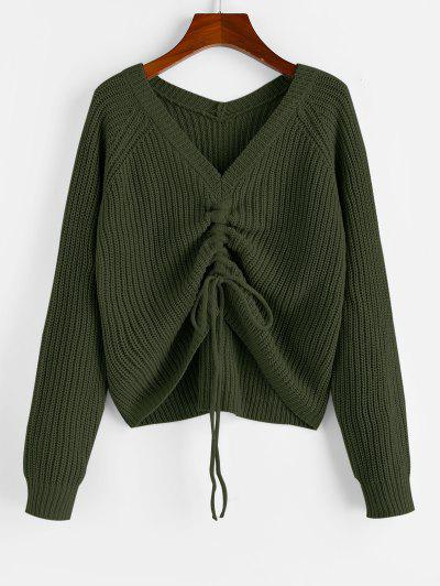 ZAFUL V Neck Shirred Ribbed High Low Sweater - Army Green M